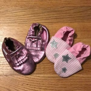 2 pair baby soft slip on pink shoes